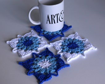 Bright Blue Crochet Coasters Set of 4 for the Home