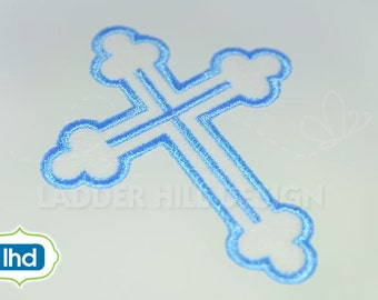 Cross Machine Embroidery Design -- Satin Outline Cross Easter Embroidery Design REL042
