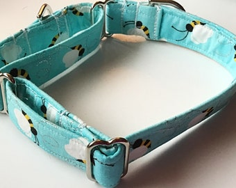 Adjustable Blue Bumble Bee Martingale Collar for Dogs