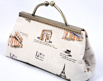 "Clutch  Purse,  Frame Clutch Bag,  Handmade  Paris Clutch,  French Theme  Print ""I Love Paris"" , by WhiteCross Designs, Ready to Ship"