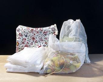 Reusable produce bags, Zero waste shopping kit, Bulk bags with pouch, Shopping bags, Zero waste gift for women, Drawstring bags