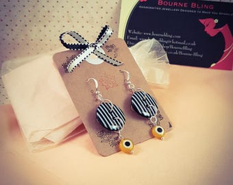Black and White Striped Button Yellow Evil Eye/Nazar Dangle Silver Earrings  [E130]
