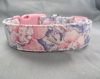 Pretty Pink & Purple Flowers Dog Collar
