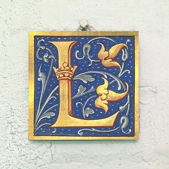 Illuminated Manuscript Letter L Image Ceramic
