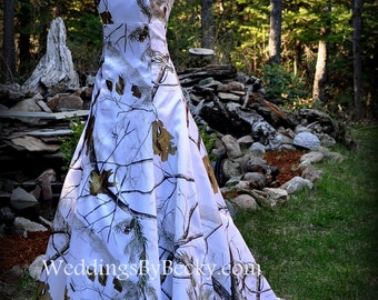 REALTREE snow camo Wedding Dress 'Abigail' Made ONLY in the USA