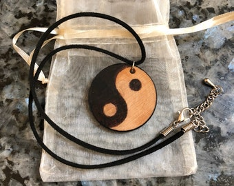 Yin Yang Wood Burned Wooden Necklace