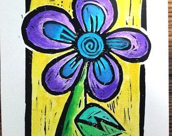 Purple Passion, Flower linocut print, hand colored