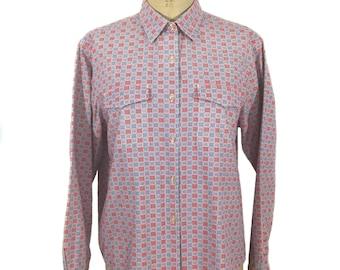 vintage 1990's J.CREW checkered blouse / red white blue / cotton / novelty print blouse / women's vintage blouse / tag size large
