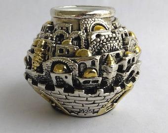 """Original 1955 Karshi Sterling Silver 925 Jerusalem Candlesticks Holder Mid Century Sterling Silver Karshi Israel  """"Holy Land"""" Candle Holder"""