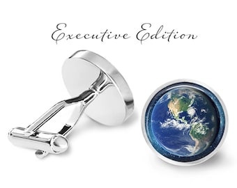 Earth Cufflinks - Planet Cuff Links - Space Cufflink - Astronomy Cuff Link (Pair) Lifetime Guarantee (S1302)