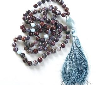 QUIET THE MIND - Mala Beads - Red Lightning Agate Aquamarine Mala Necklace - 108 Beads Mala - Tassel Mala Beads, Yoga Meditation Beads
