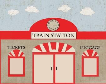 Vintage Train Station Backdrop