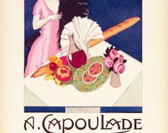 SALE!  A. Capoulade Restaurant - Paris - Vintage Poster (12 x 19)