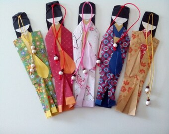 Set 5 bookmarks paper doll handmade Japanese origami