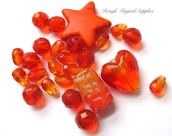 Orange Beads, Assorted Sizes, Mixed Shapes, Colorful Bead Assortment, Lampwork, Faceted Glass Crystals, Gemstone Star - 25 Pieces SP705