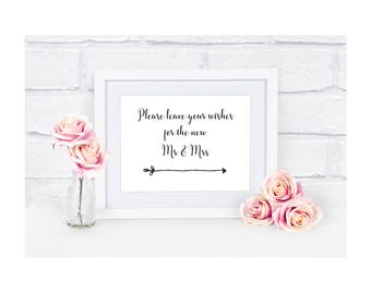 A5 Wedding Sign - Wishes for the New Mr & Mrs - Ivory Cream / White / Kraft