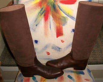 Vtg Italian Cocoa Brown Suede & Chocolate Leather Equestrian Boots 6.5M - 1980's