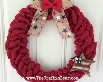 Burlap wreath - Patriotic wreath - red white & blue - 4th of July wreath - American wreath - 4th of July decor - Americana - USA wreath
