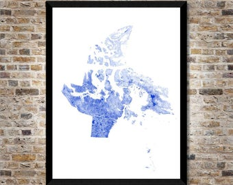 Waterways of Nunavut map art | Printable Canada map print, Nunavut print, Nunavut art, Nunavut poster, Nunavut wall art, Nunavut gift idea