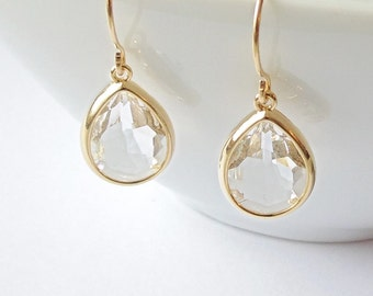 Crystal teardrop earrings Gold teardrop earrings Bridal teardrop earrings Teardrop earrings wedding Bridesmaid earrings Bridal earrings Gift