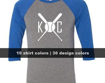 KC Baseball Bats Shirt, Customize Colors, KC Royals Shirt, Kansas City Royals Shirt, Kansas City Raglan Shirt, KC Shirts, Cute Royals Shirt
