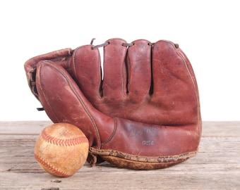 Vintage Leather Baseball Glove / Old Baseball Glove Leather Glove / Denkert Henry Hank Thompson Baseball Glove / Mens Gift Antique Mitt