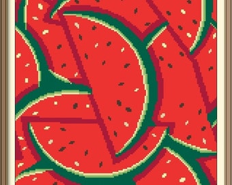 Watermelon Modern Abstract Colorful Cross Stitch Pattern PDF Chart Instant Download