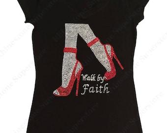 "Women's Rhinestone T-Shirt "" Walk in Faith "" in S, M, L, 1x, 2x, 3x"