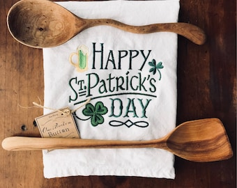 Happy St. Patrick's Day embroidered flour sack tea towel, in green, with shamrocks green beer, St. Paddy's Day, Irish, kitchen decor towel