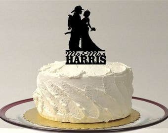 MADE In USA, Personalized Fireman and Nurse Wedding Cake Topper, Fireman Wedding Cake Topper, Nurse Wedding Cake Topper, Firefighter Topper