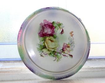 Antique Porcelain Trivet Roses Bonn Frantz Ant Mehlem Germany