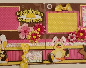 Eggsploding Sweetness EASTER 2 Premade Scrapbook Pages Paper Piecing 4 Album 12x12 Scrapbooking
