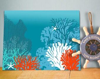 Underwater Coral Art Print - Nautical print Nautical Wall Art sea coral wall art sea coral print coastal bathroom coastal decor Bathroom art