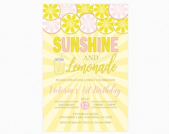 Lemonade Birthday Party Invitation, Sunshine and Lemonade Party, Personalized, Printable or Printed Invitations