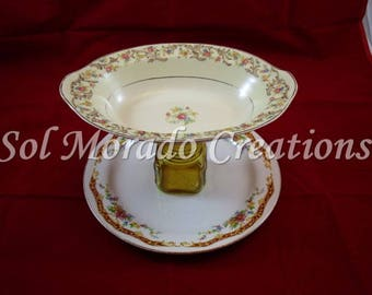 Gorgeous floral two tier cake plate