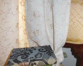 Vintage Cream Crewel  Yardage, Linen/Cotton Yardage or Custom Curtain,Mermaids Boudoir