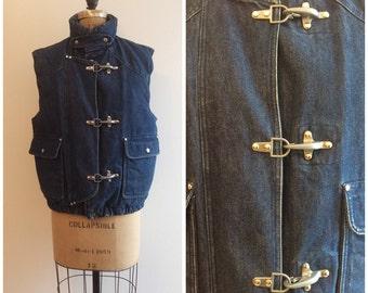Vintage 1980s 1990s Ralph Lauren Denim Vest 70s Padded Coat Jacket Plaid Flannel Down Filled