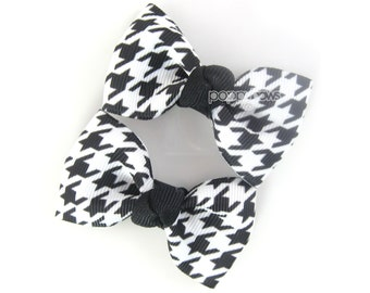 "Houndstooth Hair Clips, houndstooth hair bows, black and white 2.5"" pair hair bows, baby hair bows, girls hair clips, girls hair bows winter"