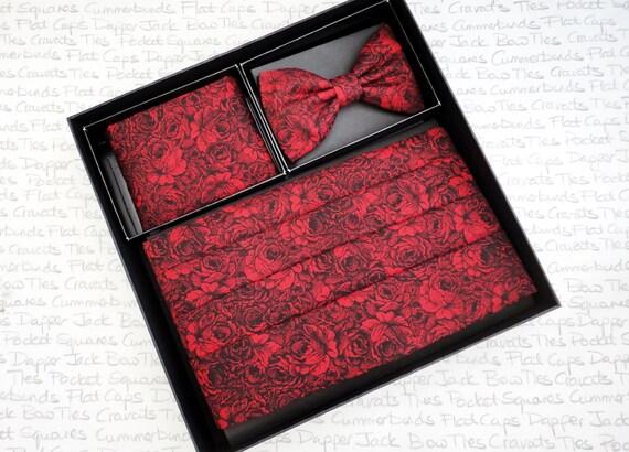 Red roses on black, cummerbund, bow tie and pocket square set