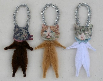 Cat Lover Gift Christmas Ornaments - Shabby Chic Cat Ornaments