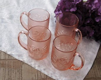 Arcoroc France Rosaline Pink Coffee Mugs Set of 4 Rosa Pink Blush Peachy Pink Glass Hot Cocoa Cups Replacement China Ca. 1960s