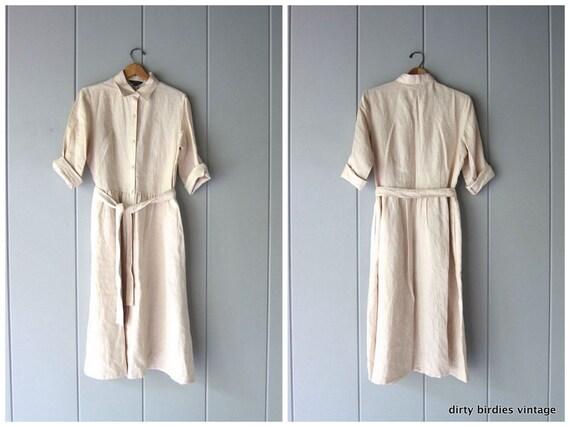 Gorgeous Linen Dress 90s Button Front Chore Dress Classic Minimal Modern Shirt Dress Preppy Natural Prairie Linen Dress Womens 12 medium