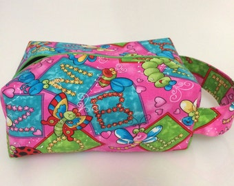 Small Boxy Project Bag - Dancing bugs with lime green lining - B0032