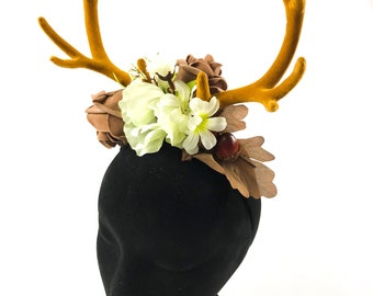 Beautiful deer stag horn flower crown Handmade by Asbeau *naturals*