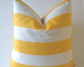 Outdoor Decorative Pillow Cover - Yellow and White v - Medium Weight Fabric - Invisible Zipper Closure- Cushion Cover