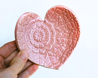 Pink Heart Dish - Ceramic, Pottery - Spoon Rest, Soap Dish, Tea Bag Rest, Jewelry Dish, Ring Holder - Valentine Gift - Pink Lace Heart Dish