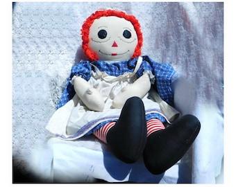 Large Handmade Raggedy Ann - Raggedy Ann doll- soft stuffed doll - traditional Raggedy Ann- 38 inch Raggedy Ann doll -  # 80