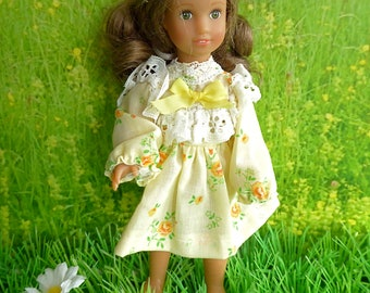 PRINT PARTY DRESS in pale yellow for slender 7-8in/17-20cm dolls like Betsy McCall, Lesney Ginny, Lottie, Mini American Girl or Riley Kish