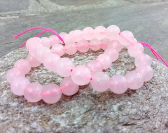 Round Pink Rose Quartz Beads, Strand Natural Pink Quartz Beads, Genuine Grade A 8 mm Quartz Beads, 1 mm Hole Bead, Genuine Bead Supplies