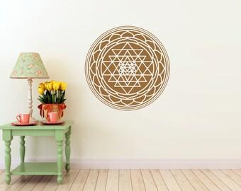 Sri Yantra mandala vinyl Wall DECAL-seed Sacred geometry, sticker art, rainbow Holographic
